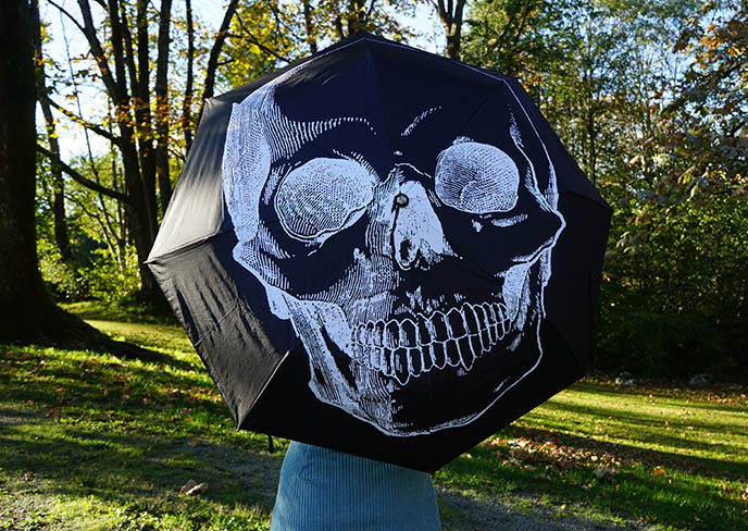 goth umbrellas, gothic skull skeleton umbrella