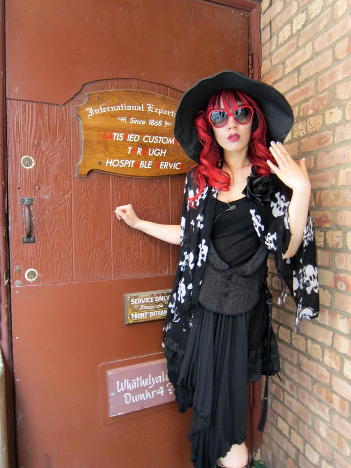 safe house, spy theme bar, milwaukee wisconsin safe house, james bond bar, martinis, spy outfit, spy girl, big floppy hat, lumete sunglasses, goth doll makeup, gothic lolita makeup hair, hairstyles, goth emo scene queen, japanese goth makeup, jpop eyes, japan big eyes techniques, wisconsin best restaurants bars, coolest bars in america, usa bar weird, bizarre foods, world's weirdest restaurants, spy restaurant, theme family restaurants