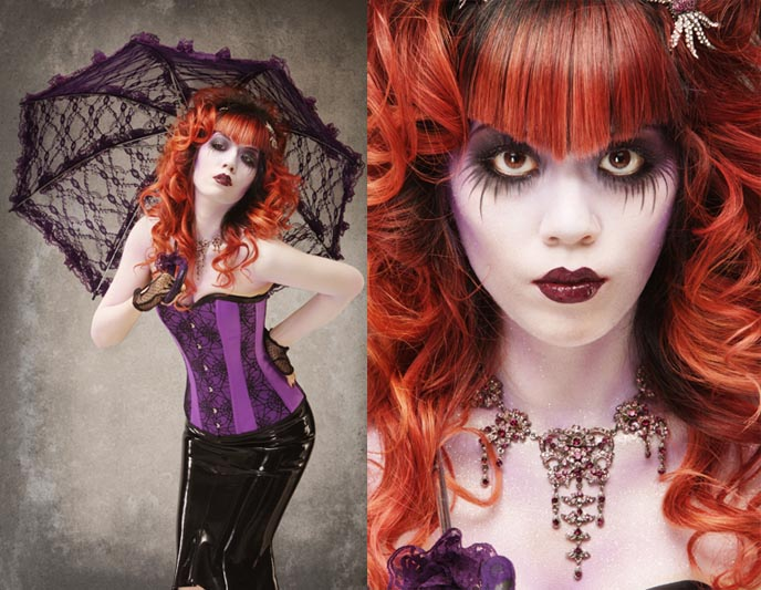 lacarmina la carmina goth magazine makeup corpse bride bodypaint gothic tutorial hair hairstyles jewelry clothing latex