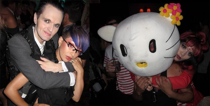 HELLO KITTY BIRTHDAY PARTY AT MR BLACK HOLLYWOOD CLUB. VIP TABLES, GLAMOROUS MAKEUP, BEST LOS ANGELES NIGHTLIFE. los angeles gay clubs, hello kitty hair, how to do lady gaga hair bow, hair bows hairstyle technique, mr black, lgbt clubs bars in la, california, hollywood, bardot nightclub, lenora claire, clint catalyst, zoetica ebb, coilhouse, glam makeup, drag queens, transsexuals, los angeles vip tables reservation, most exclusive clubs