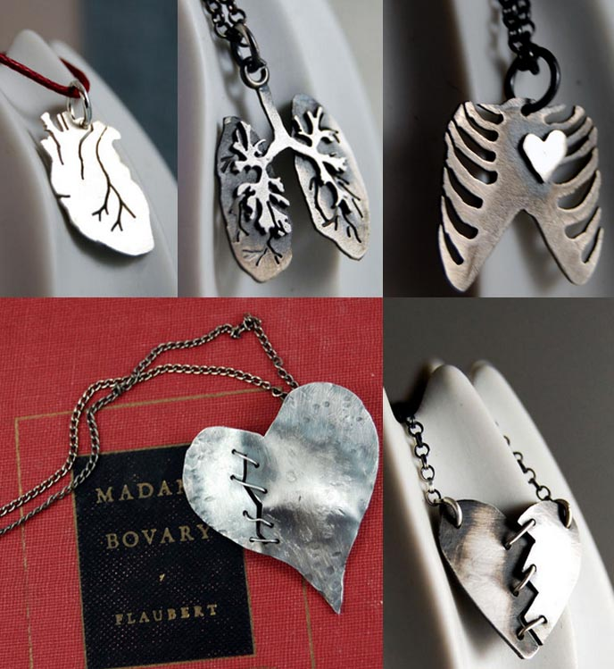 MARKHED DESIGN: GOTHIC PIN-UP HANDMADE ANATOMICAL JEWELRY. etsy goth necklaces, bracelets, heart earrings, dark indie jewelery, Artisan Indie designer earrings, rings, and necklaces