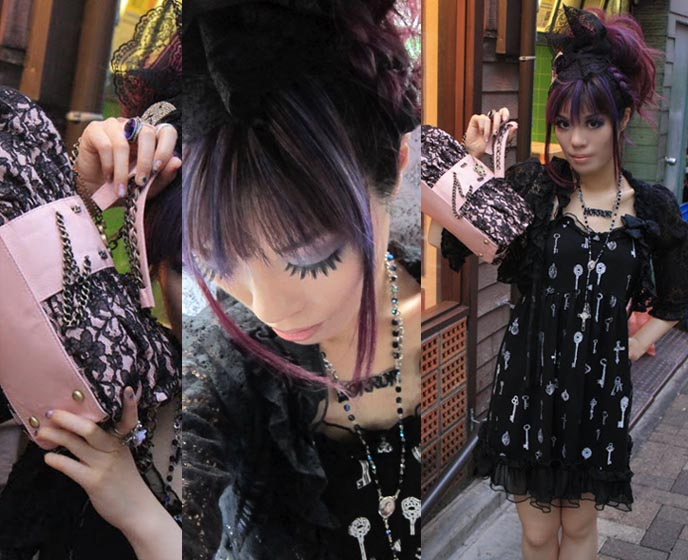 banana fish dress, hime gyaru hairstyles, purple gothic hair, goth hair photos, moda revise, modarevise purse, kawaii tv, nhk, japanese television, japan national broadcaster, kawaii tv show, cute girls tv host, NEW DARK PURPLE DYED HAIR COLOR & STYLE! NHK KAWAII TV SHOOT AT ABILLETAGE, VINTAGE GOTHIC LOLITA CORSET SHOP. Tokyo corsets, handmade secondhand clothes, best vintage stores tokyo japan, vintage shopping, tokyo fashion diaries, koda kumi costumes, ayumi hamasaki outfits, dolly kei, lace purse