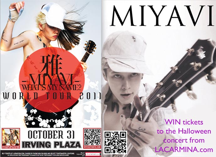 MIYAVI WHAT'S MY NAME TOUR 2011: WIN NYC CONCERT TICKETS! CUTE HALLOWEEN COSTUMES, FOOD & EVENTS IN TOKYO, JAPAN. MIYAVI CONCERT TICKET GIVEAWAY: WIN FREE PASSES,  jrock star miyavi, j-rock world tour, neo samurai, American concert tour, irving plaza october 31 miyavi, miyavi twitter, wiki, lyrics
