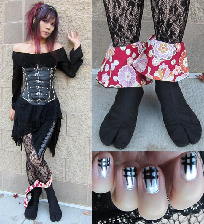 JAPONISTA SOLE, NINJA JIKA TABI: JAPANESE SHOES & BOOTS WITH TOES! SAMURAI KAMON, Traditional japanese shoes, japan FOOTWEAR, spiky GOTH CORSET, H.NAOTO dress, sixh h naoto, leather corsets, custom designer corset waist cincher, kimono slippers, kill bill lucy liu, best shopping tokyo japan, cool japanese clothing brands, rock and roll clothes tokyo, amazing shoes asia, hip design shoes, jeffrey campbell