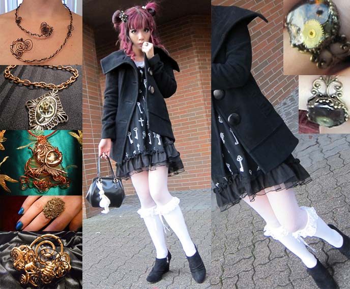 STEAMPUNK CLOCKWORK JEWELRY, RINGS & NECKLACES BY ROSE OF STONESTREET. JAPAN VINTAGE DESIGN, GOTH WINTER COAT. Steampunk Clothing & Accessories. Steam punk fashion and supplies, vintage clock gears, cogs, pocket watch parts, jewelry antique and modern, natural Japanese sea glass and pottery, asian vintage clothes