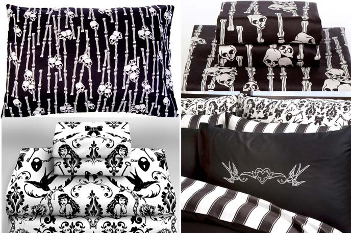 goth bedroom alternative home decor punk rock house sexy unique designer shower curtains - Home Decorating Bedding