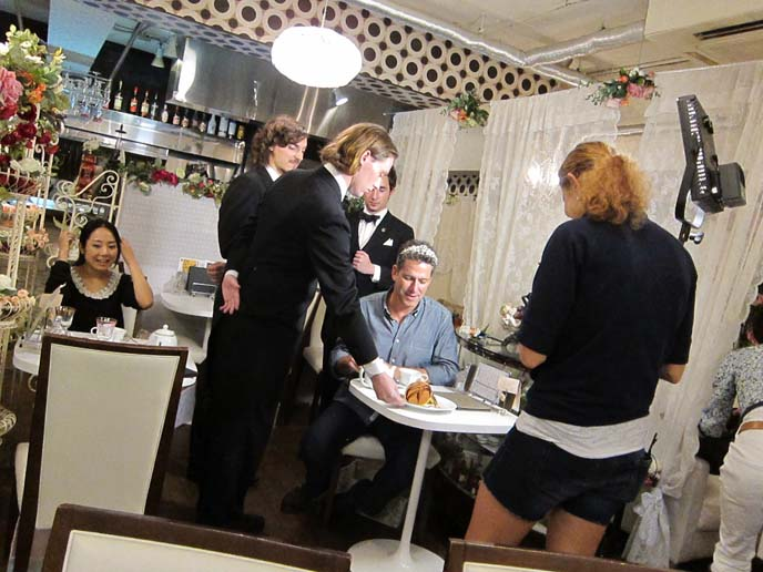 SHIBUYA BUTLER CAFE, FOREIGN GAIJIN BUTLERS TEACH JAPANESE GIRLS ENGLISH. KAGAYA CRAZIEST TOKYO RESTAURANT EVER, weirdest restaurants in the world, food network canada, shibuya butlers, kagaya frog costume, Food network tv host, SHINJUKU TOKYO JAPAN. bob blumer, tv host, travel channel, glutton for punishment, surreal gourmet, crazy japan theme cafes, tv hosting, fixing, japan production arrangers, tokyo fixer, craziest restaurants in the world, japanese theme cafes, bizarre foods, food network canada, production company, paperny films, la carmina tv host, travel tv show.