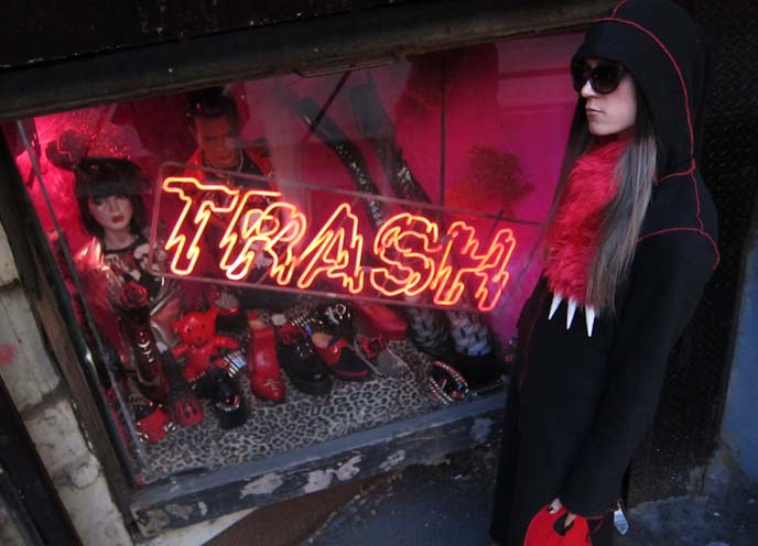 TRASH AND VAUDEVILLE: NYC GOTH PUNK CLOTHING SHOP, ONLINE STORE. ST MARKS PLACE, EAST VILLAGE. NY SEXY SHOES & BOOTS. NEW YORK PUNK CLOTHING & ACCESSORIES STORE, ST MARKS NYC ALTERNATIVE SUBCULTURE BOUTIQUE. demonia, trip nyc,  where to buy lip service, best underground emo alternative stores new york,  east village shopping guide, New york goth clothes, gothic clothing stores nyc, st mark's place, punk clothes, bright hair dye, manic panic, crazy clothes new york, japanese clothing stores nyc, coolest stores in the world, fashion bloggers, drag queen boots, cross dresser shoes