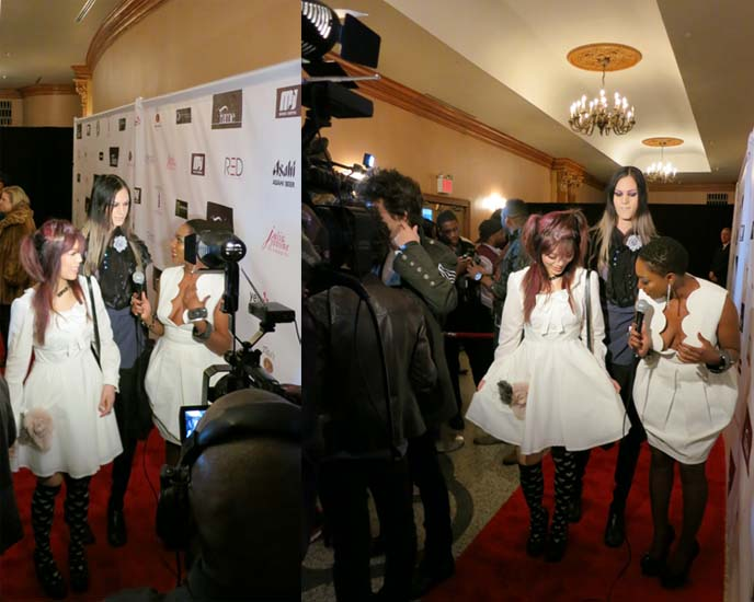 LA CARMINA ON RED CARPET, PROJECT RUNWAY DESIGNERS FASHION SHOW, FAME ROCKS. NY FASHION WEEK FAB PARTY. Red carpet interviews, entertainment reporters, NEW YORK FASHION WEEK events, celebrity red carpet, ny fashion week 2012, february 2012, lincoln center, gloomth, sweet lolita dress, cute lolitas, cute japanese lolis, stevie boi sunglasses, lady gaga sunglasses, designer eyewear, sweet lolita girl, tokyo fashion snaps, vampire fashion, vampire makeup, fashion bloggers conference, how to get tickets to ny fashion week, mbfashionweek, mercedes benz fashion week, new york city fashion, runway shows, fashion show invites, invitations, blogger events, fashion blog collaborations
