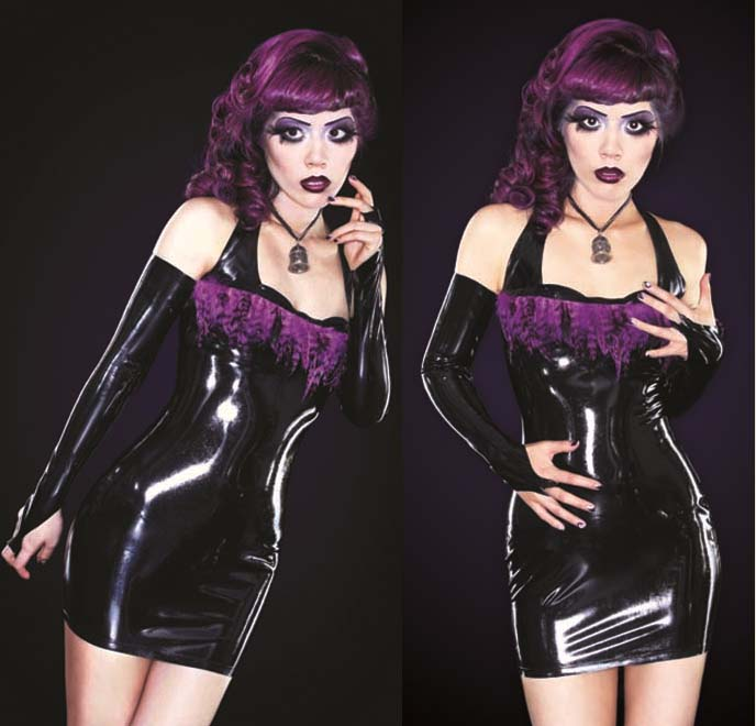 Latex dress, 1920s makeup, 1930s old hollywood, goth glamour, dark beauty, gothic beauty, gothic beauty magazine cover, latex fashion, latex clothing, makeup tutorial, airbrushing, award-winning makeup, best makeup photos, purple hair dye, goth hairstyles, gothic hair extensions, innocent world, lolita clothing, goth model, alternative modeling, purple eyeshadow makeup, curled hair glam, LA CARMINA IN GOTHIC BEAUTY MAGAZINE, gothic lolita, purple feather dress, latex armbands, long black gloves