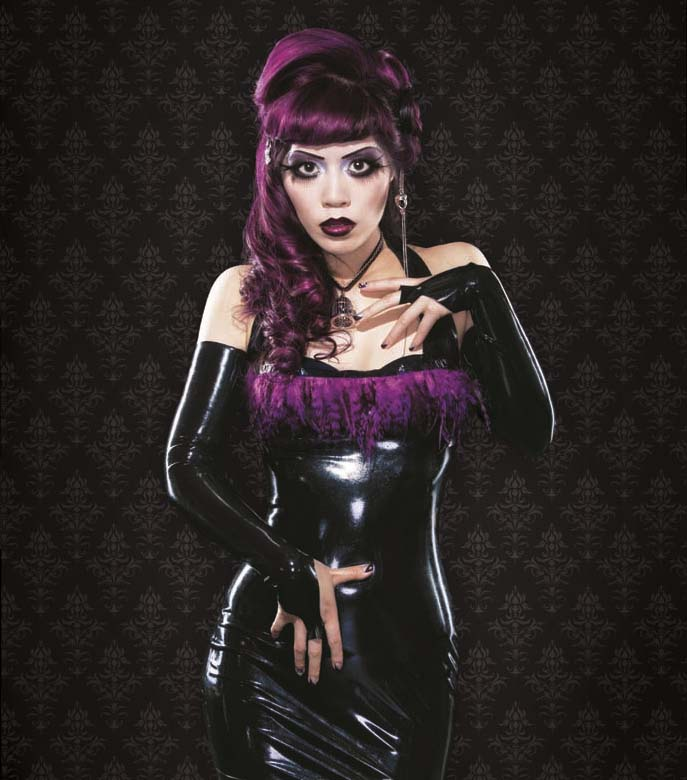 film noir makeup, film noir hair, Latex clothing, 1920s makeup, 1930s old hollywood, goth glamour, dark beauty, gothic beauty, gothic beauty magazine cover, latex fashion, latex clothing, makeup tutorial, airbrushing, award-winning makeup, best makeup photos, purple hair dye, goth hairstyles, gothic hair extensions, innocent world, lolita clothing, goth model, alternative modeling, purple eyeshadow makeup, curled hair glam, LA CARMINA IN GOTHIC BEAUTY MAGAZINE, gothic lolita, purple feather dress, latex armbands, long black gloves