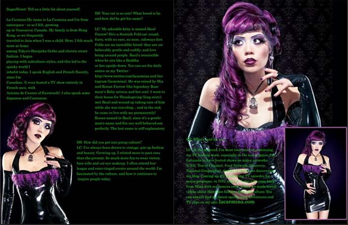 La Carmina On Alt Noir Goth Magazine Cover Gothic Beauty: Purple Hair, Latex Dress & Feathers! Fashion Editorial In