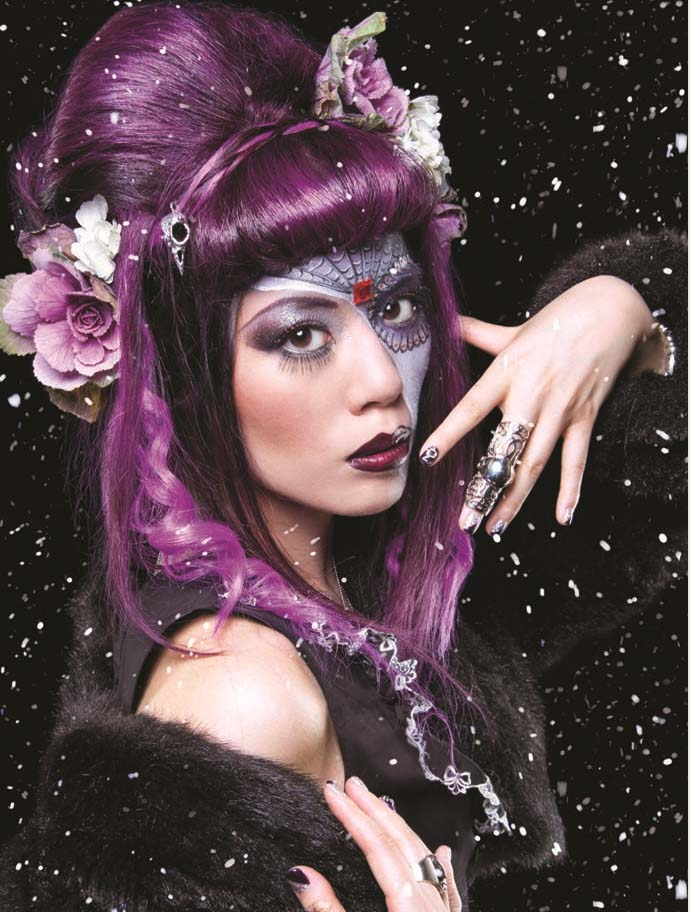 gothic beauty, gothic beauty magazine cover, sugar skull makeuo.