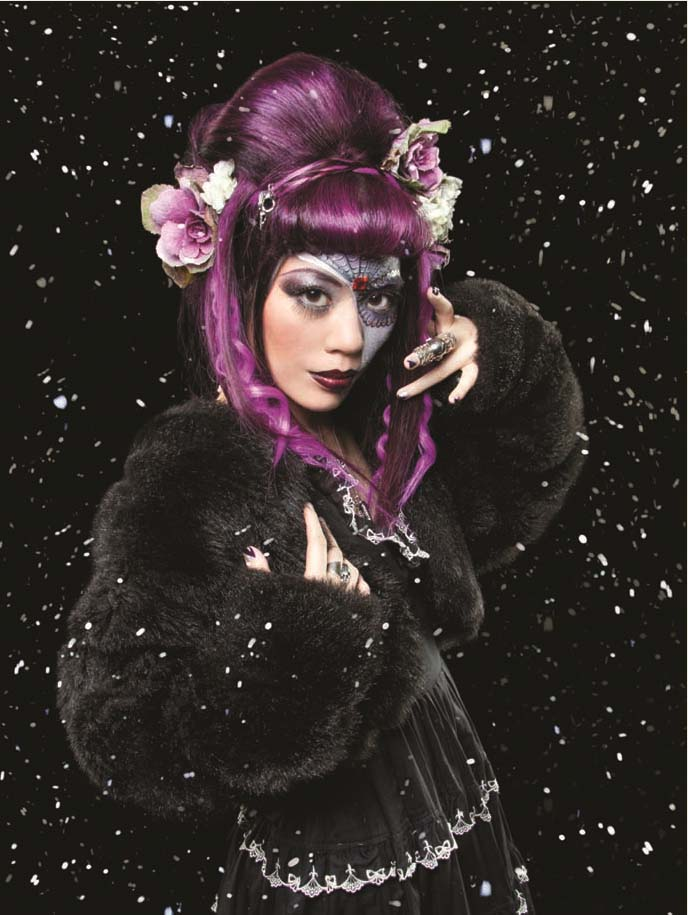 gothic beauty, gothic beauty magazine cover, mexican makeup, sugar skill, makeup tutorial, airbrushing, award-winning makeup, best makeup photos, purple hair dye, goth hairstyles, gothic extensions, innocent world, lolita clothing, goth model, alternative modeling, half face makeup, poof hairdo, LA CARMINA IN GOTHIC BEAUTY MAGAZINE! MEXICAN SUGAR SKULLS MAKEUP, PURPLE EXTENSIONS HAIRSTYLE, gothic LOLITA DRESS.