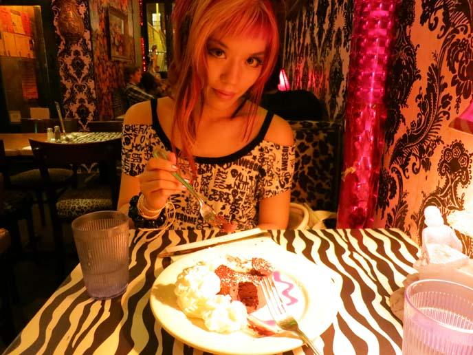 zebra print wallpaper, zebra decor, yaffa restaurant, punk cafe new york