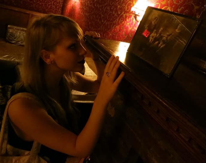 speakeasy dollhouse, cynthia von buhler, immersive murder mystery, murder theater, 1920s new york prohibition, dollhouse play, oddities tv show, oddities star, oddities edgar, Edgar Oliver, is that a straightjacket, flapper girls, flapper dresses, 1920s hairstyles, roaring twenties makeup, speakeasy bar, nyc plays, best nyc theater