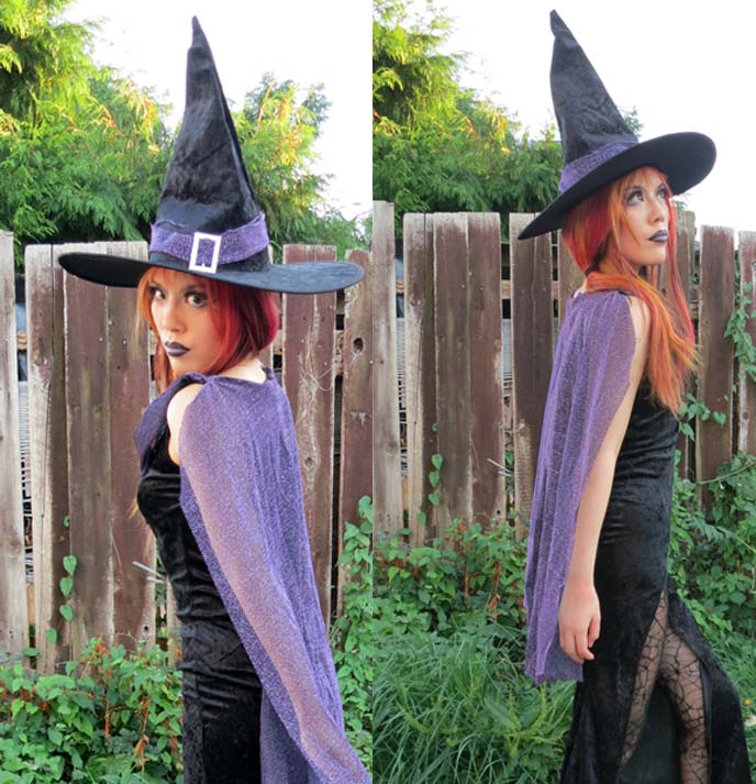 purple cape, morticia addams dress, witch costume, sexy womens costumes, halloween 2012 costumes, women costumes, witch outfit, witch makeup, long goth gown, tight dress with long leg slit, elegant witch, pointy hat, cosplay, wicked witch costumes, 2012 halloween costume, goth makeup, black purple lipstick, halloween costume ideas, gothic witch