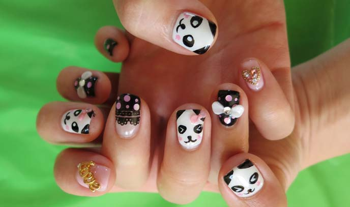 panda bear nail art, panda nails, panda nail art, japanese nail art, kawaii character nails, cute nails, japan nail art studio, pandas design, 3d nails, gem nails, japanese nail inspiration, nail art ideas, best nailart