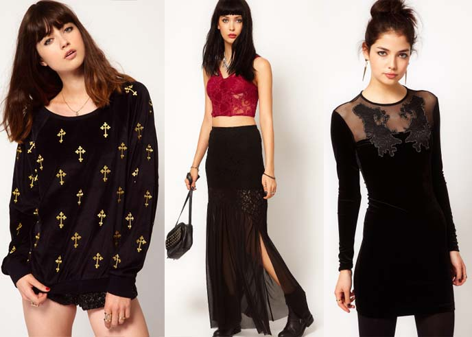 gothic womens dresses, goth dresses, asos, baroque goth trend, gothic trend 2012, fall 2012 goth fashion, dresses by ASOS, asos goth, wildfox sweaters, cross sweater, goth long dress, leather, sheer maxi dress, gothic lolita