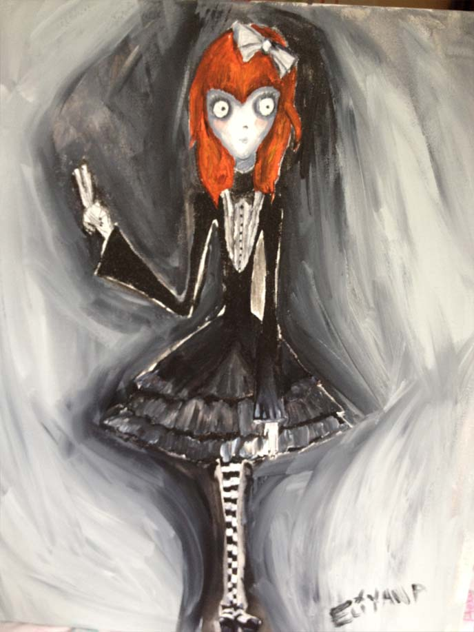 weird girl, tim burton, corpse bride, frankenweenie, victorian girl, gothic lolita drawing, goth loli, gothloli, egl, goth lolita girl art, spooky girl, painting goth, cool hair japan