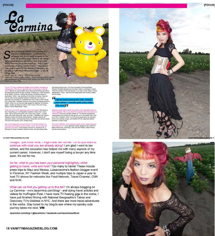 Vanity Magazine, goth magazine cover, fashion blogger, alternative fashion magazine, Gothic Cute fashion photoshoot, Wilde Hunt skeleton corset, field photoshoot, goth model, alternative model, japanese magazines, gothic lolita, japanese kawaii makeup, alternative magazines, style bloggers, giant bear toy, blow up bear, top hat girl, vanity mag uk, scene queen style