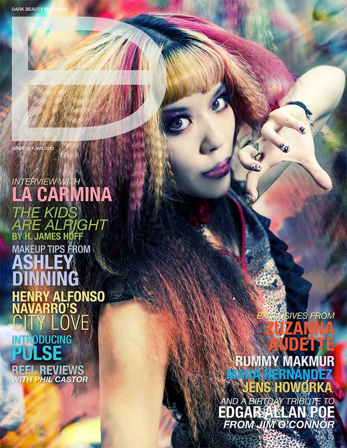 dark beauty magazine cover, goth model, gothic modeling, alternative model, la carmina magazine