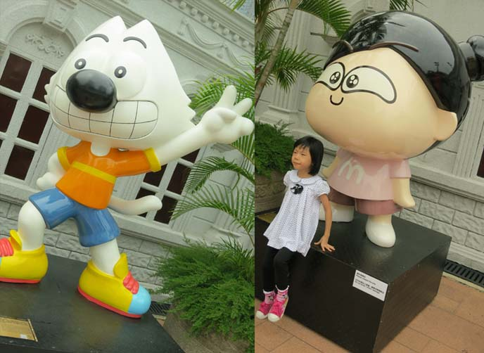 Hong Kong Avenue of Comic Stars, Kowloon Park manga, anime, cartoon statues, Chinese comics characters, Avenue of Comic Stars HK, Old Master Q, Tiger and Dragon Heroes, mcmug pig, sad panda, crying panda, panda bear statue, 星光大道, 香港漫畫星光大道, chinese comic book characters, kowloon park statues, comic art, hong kong statues