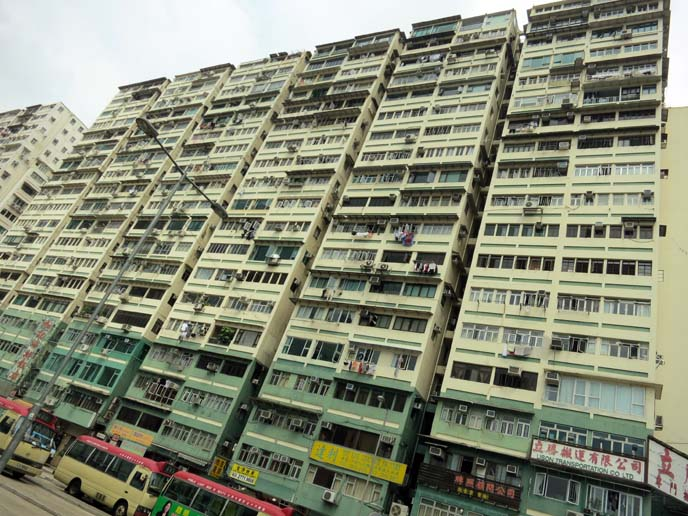 Kowloon apartment buildings, old kowloon flats, hong kong streets, hong kong flat