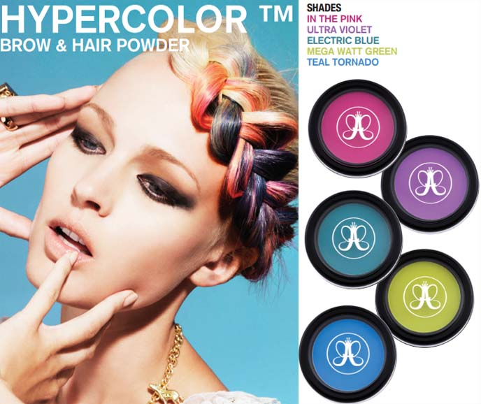 Hypercolor Hair & Brow Powder, Anastasia Beverly Hills, hyper color dip dye, rainbow hair, temporary bright hair colors, alternative hair, emo hairstyle, goth hairstyles, hypercolor hair color, ombre dyed hair, pink hair streaks, alternative haircolor, goth hair, goth girl hair, gothic hairstyles, ombre blue hair, blue and purple hair, sourpuss octopus dress, hypercolor review, bright hair powder, hair dye powders