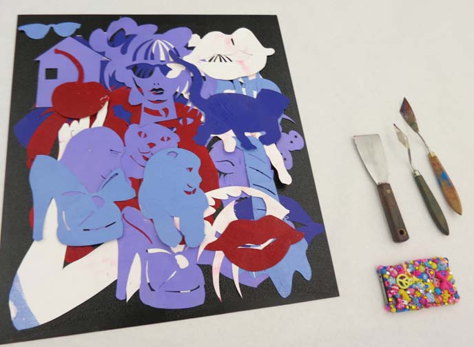 printmaking stencils, print plates, colorful iphone case, mesa art workshop