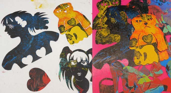 jpop art, arizona artists, art video, pochoir stencils, stencil printmaking, printmaker