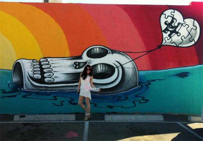 Lalo Cota mural, skull murals, fashion blogger white dress, harajuku girl, downtown phoenix, roosevelt row murals
