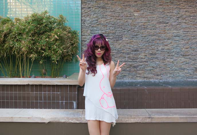miffy clothing line, miffy fashion, white sun dress, purple hair, goth model