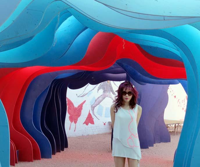 fashion blogger, little white dress, purple hair, goth model