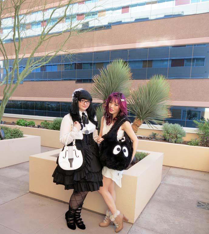 lolita outfit, cute japanese purse, gothic lolita girl, black white lolita dress