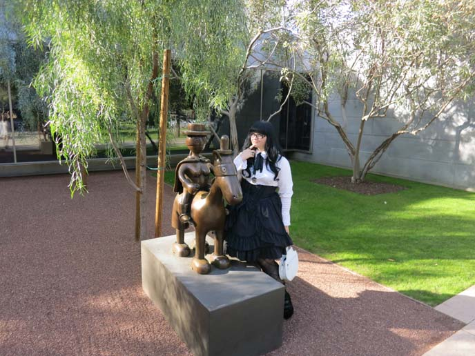 phoenix art museum, horse sculpture, sculpture garden exhibit, gothic lolita coordinate, egl, lolita dress