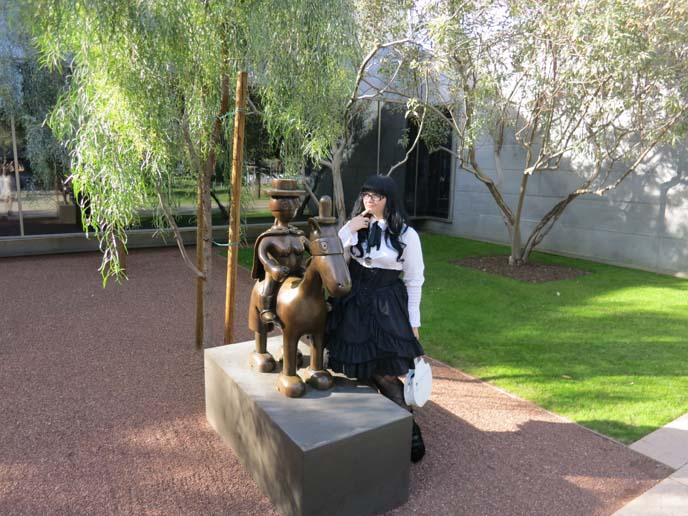 phoenix art museum, horse sculpture, sculpture garden exhibit, gothic lolita coordinate, egl, lolita dress