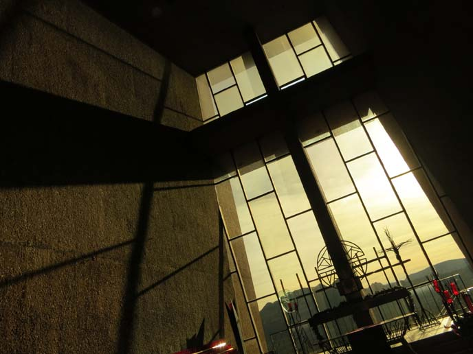 church interior, shadow of cross, light through glass