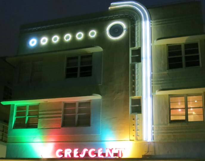 crescent hotel miami, art deco hotel, miami deco hotels, neon art deco lights, deco nights, ocean drive hotels, art nouveau