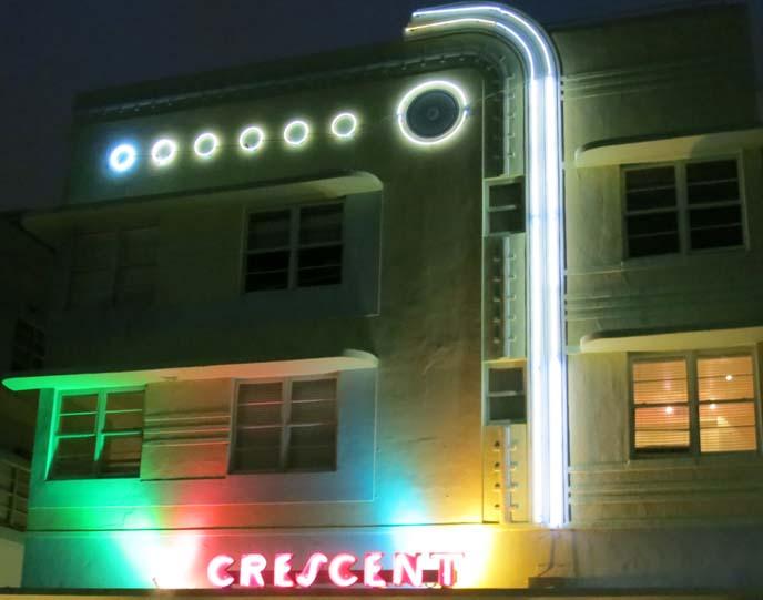 crescent hotel miami, art deco hotel, miami deco hotels, neon art deco lights, deco nights, ocean drive hotels, art nouveau