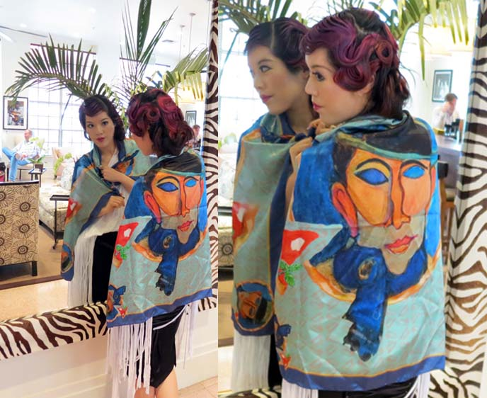 pitsart scarves, blue scarf face, the betsy hotel, betsy hotel south beach, miami boutique hotels, beachfront hotel miami, top usa boutique hotels, rock n roll hotel