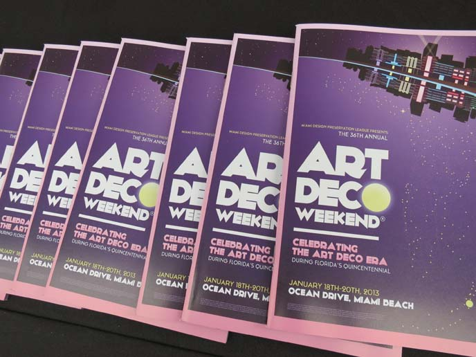 art deco book, art deco weekend flyer, logo, art deco center, miami florida travel, art deco weekend