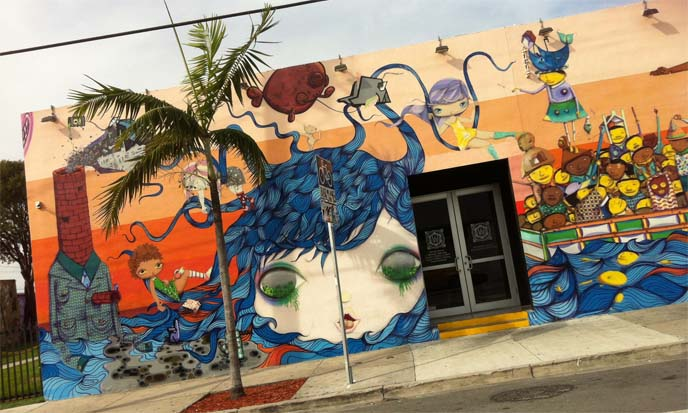 wynwood village mural, anime mural miami, wynwood village art, manga japanese murals, art deco weekend