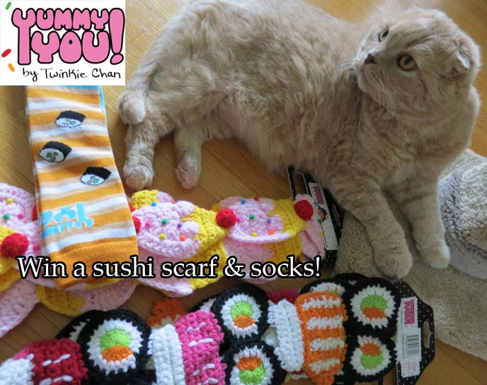 yummy you, twinkie chan, sushi scarf, cupcake scarf, kawaii scarves, cute japan accessories
