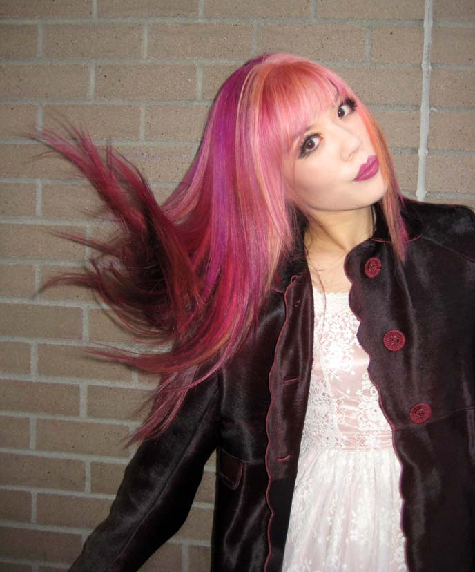 candy pink hair, scene queen hairstyles, emo hair, pastel goth hair