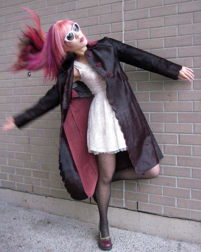 pink hair, long pink hairstyle, pink haired girl, goth fashion