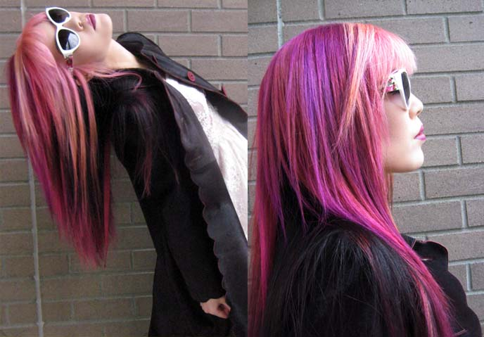 floral sunglasses, long pink hair, goth fashion blogger, joico k-pak color intensity
