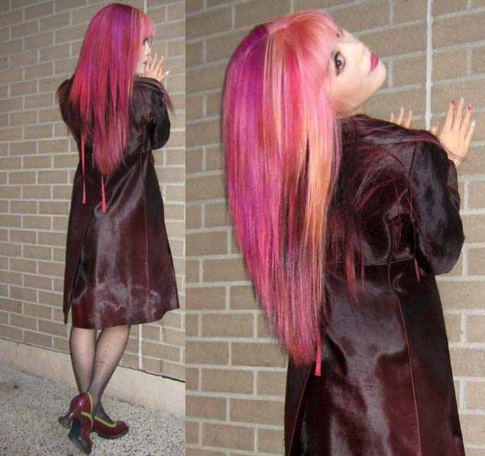 barbie hair, pink barbie hairstyle, pink hair color, long purple coat