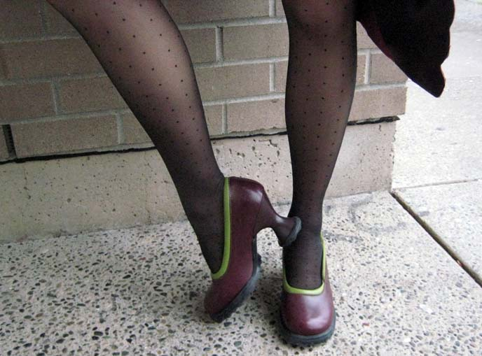 john fluevog shoes, fluevog heels, goth shoes, Lily Darling heels, polka dot tights