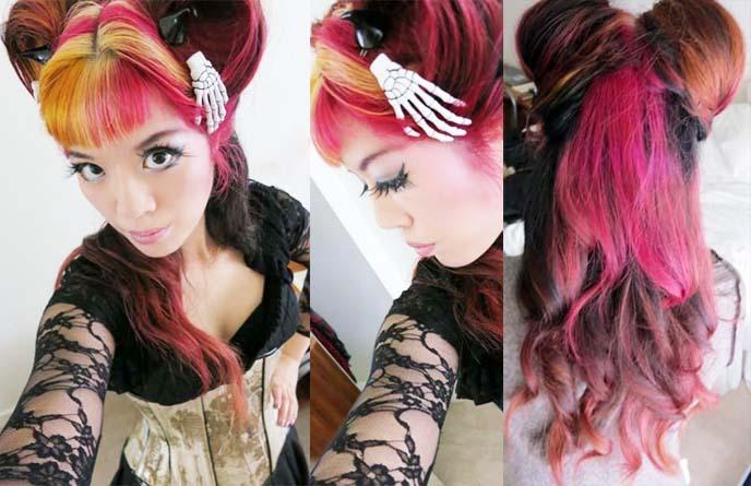la carmina oddities, goth hair style, two buns goth hairstyle, skeleton hair clips